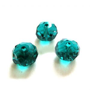 Crystal beads - flat 10mm x 8mm, green, 10 Piece, (ZZC027)